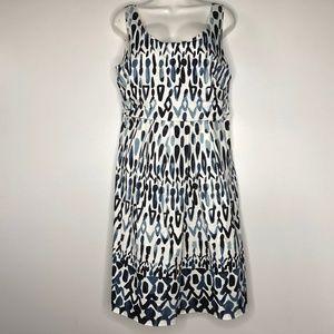 Elie Tahari Size 12 Sheath Dress Cotton Blue Print